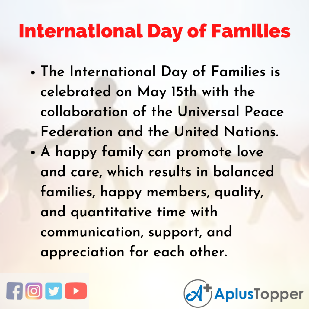 10 Lines of International Day of Families