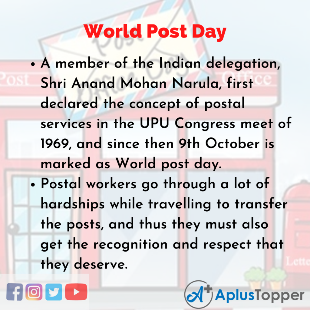 10 Lines of World Post Day