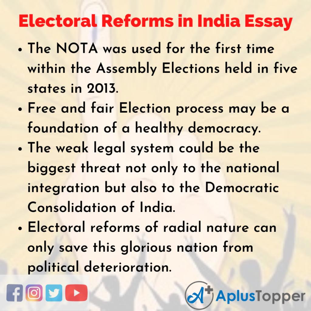 Essay on Electoral Reforms in India