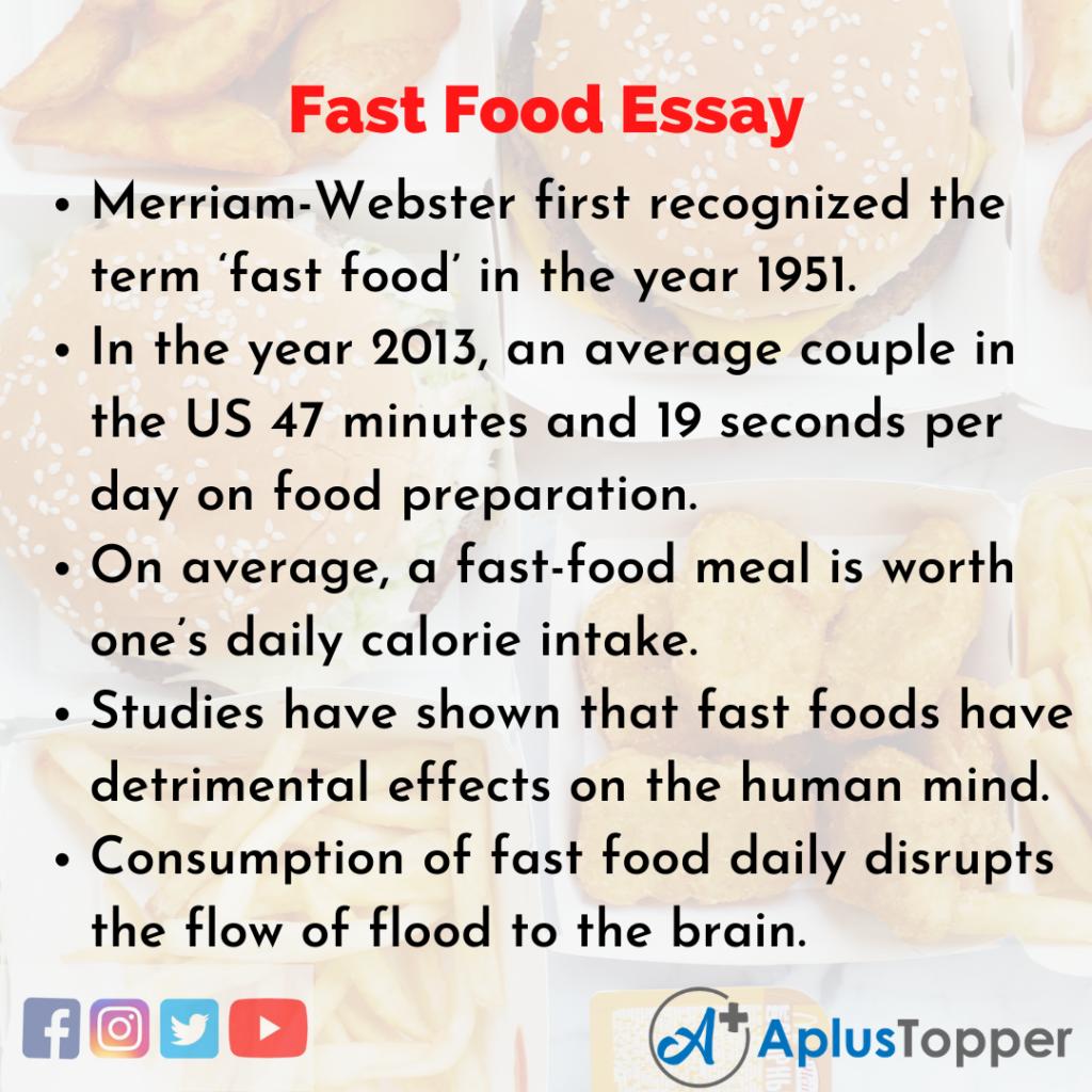 Essay on Fast Food