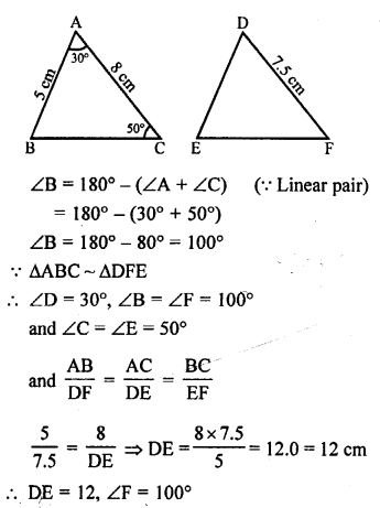 RS Aggarwal Solutions Class 10 Chapter 4 Triangles MCQ 31.1