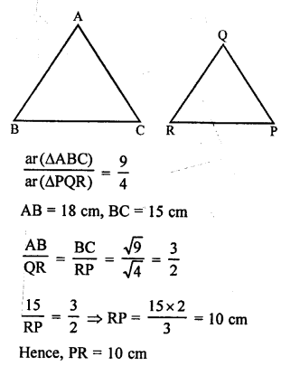 RS Aggarwal Solutions Class 10 Chapter 4 Triangles MCQ 47.1