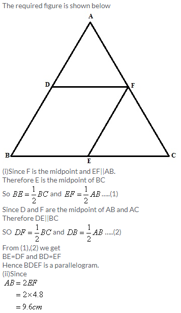 Selina Concise Mathematics Class 9 ICSE Solutions Mid-point and Its Converse [ Including Intercept Theorem] 14