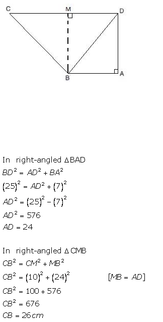 Selina Concise Mathematics Class 9 ICSE Solutions Pythagoras Theorem [Proof and Simple Applications with Converse image - 10