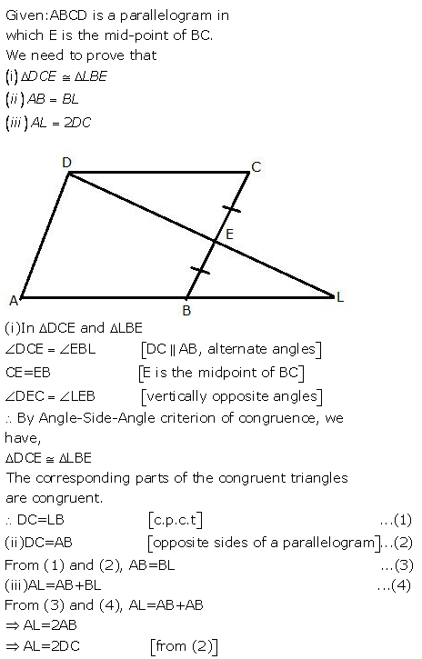 Selina Concise Mathematics Class 9 ICSE Solutions Triangles [Congruency in Triangles] 13