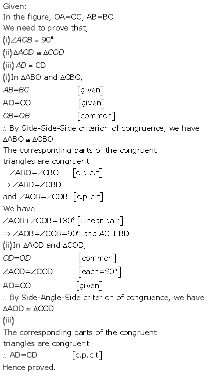 Selina Concise Mathematics Class 9 ICSE Solutions Triangles [Congruency in Triangles] 39