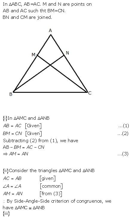 Selina Concise Mathematics Class 9 ICSE Solutions Triangles [Congruency in Triangles] 40