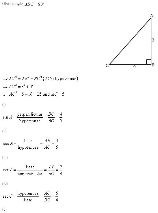 Selina Concise Mathematics Class 9 ICSE Solutions Trigonometrical Ratios image - 1