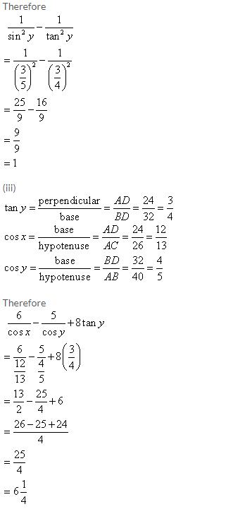 Selina Concise Mathematics Class 9 ICSE Solutions Trigonometrical Ratios image - 36