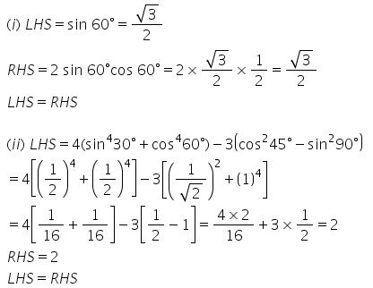Selina Concise Mathematics Class 9 ICSE Solutions Trigonometrical Ratios of Standard Angles image - 7