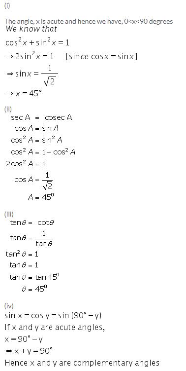 Selina Concise Mathematics Class 9 ICSE Solutions Trigonometrical Ratios of Standard Angles image - 8