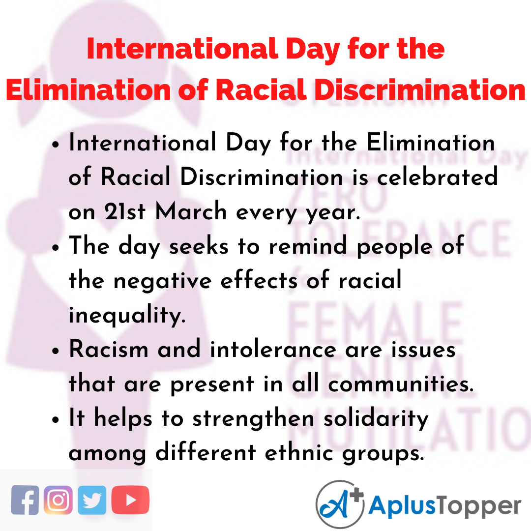 10 Lines about International Day for the Elimination of Racial Discrimination
