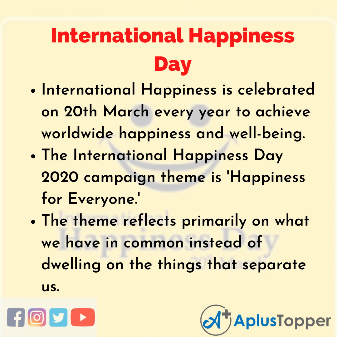 10 Lines about International Happiness Day