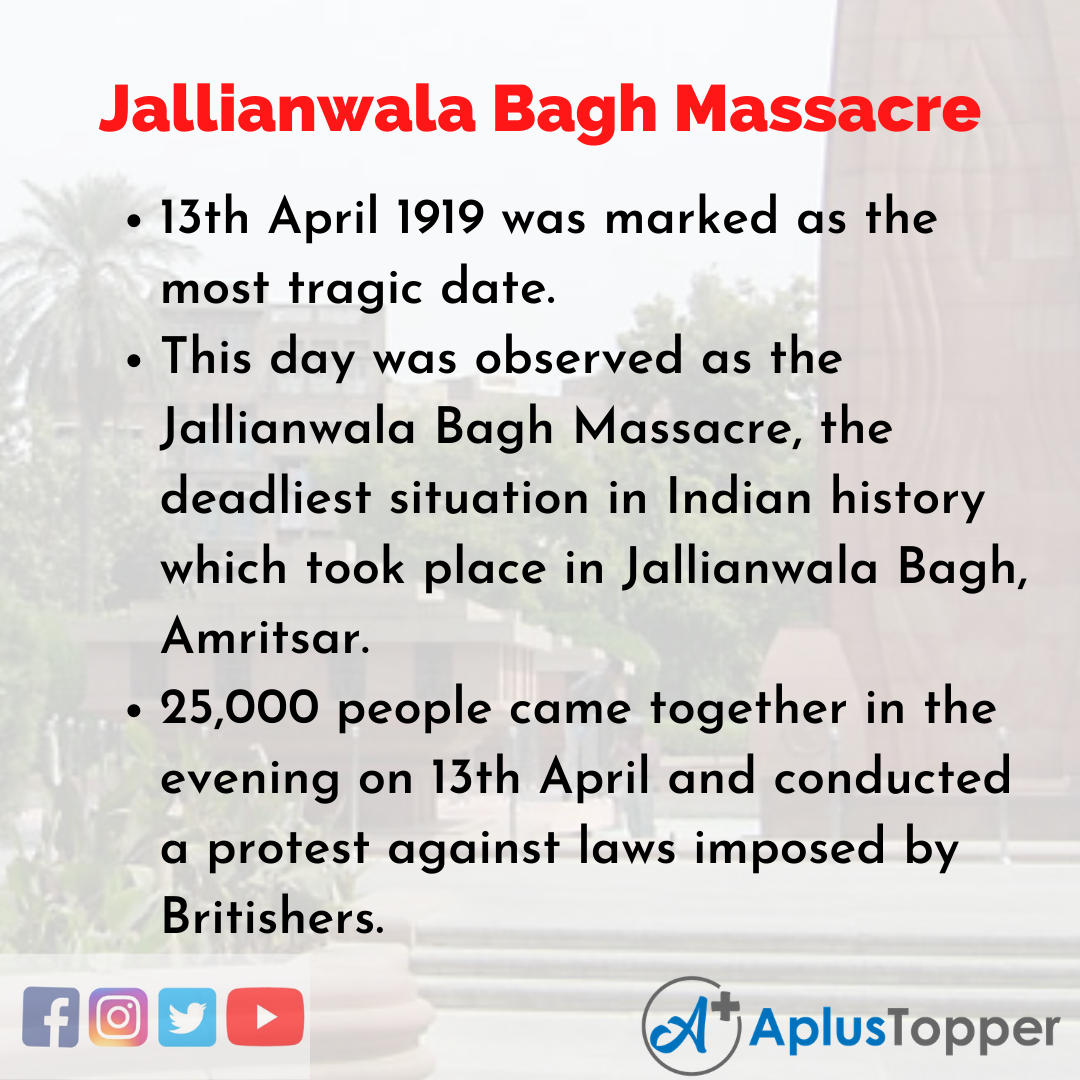 10 Lines about Jallianwala Bagh Massacre