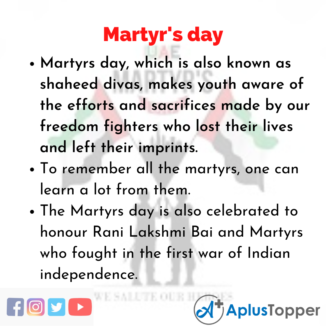 10 Lines about Martyr's day