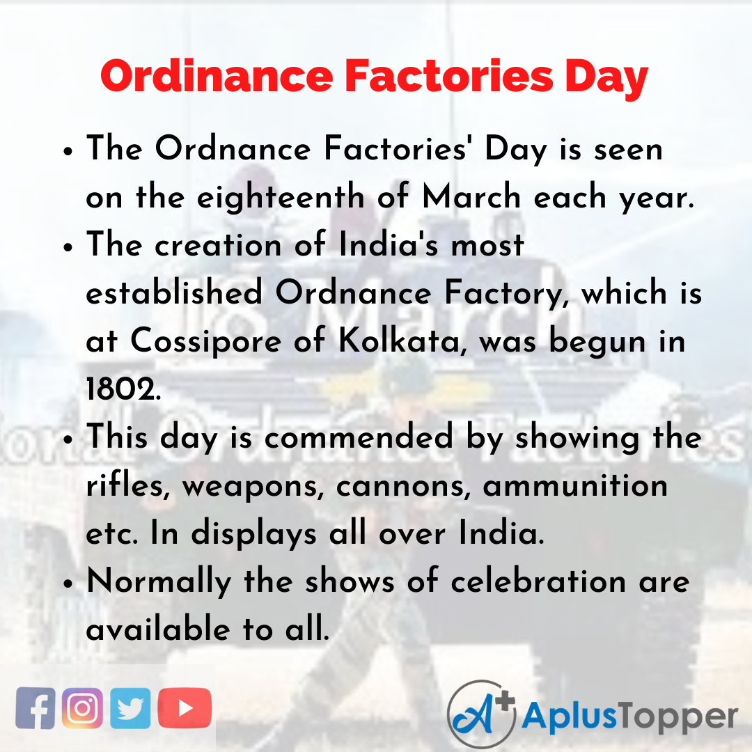 10 Lines about Ordinance Factories Day
