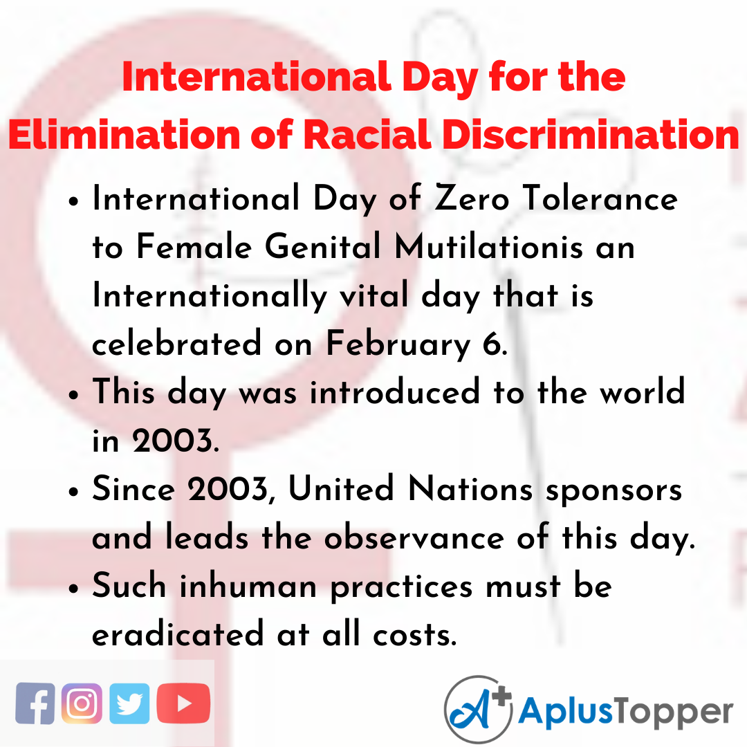 10 Lines of International Day for the Elimination of Racial Discrimination