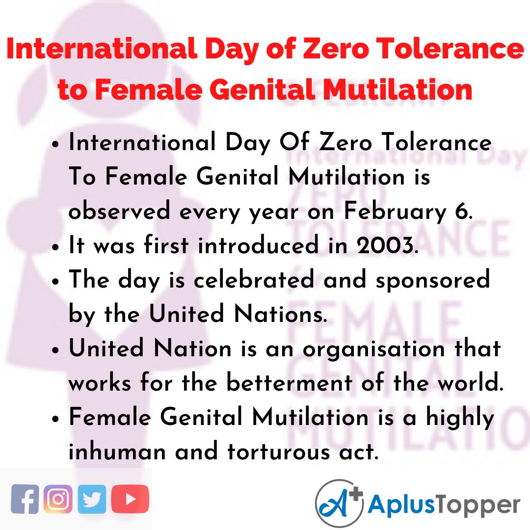 10 Lines of International Day of Zero Tolerance to Female Genital Mutilation