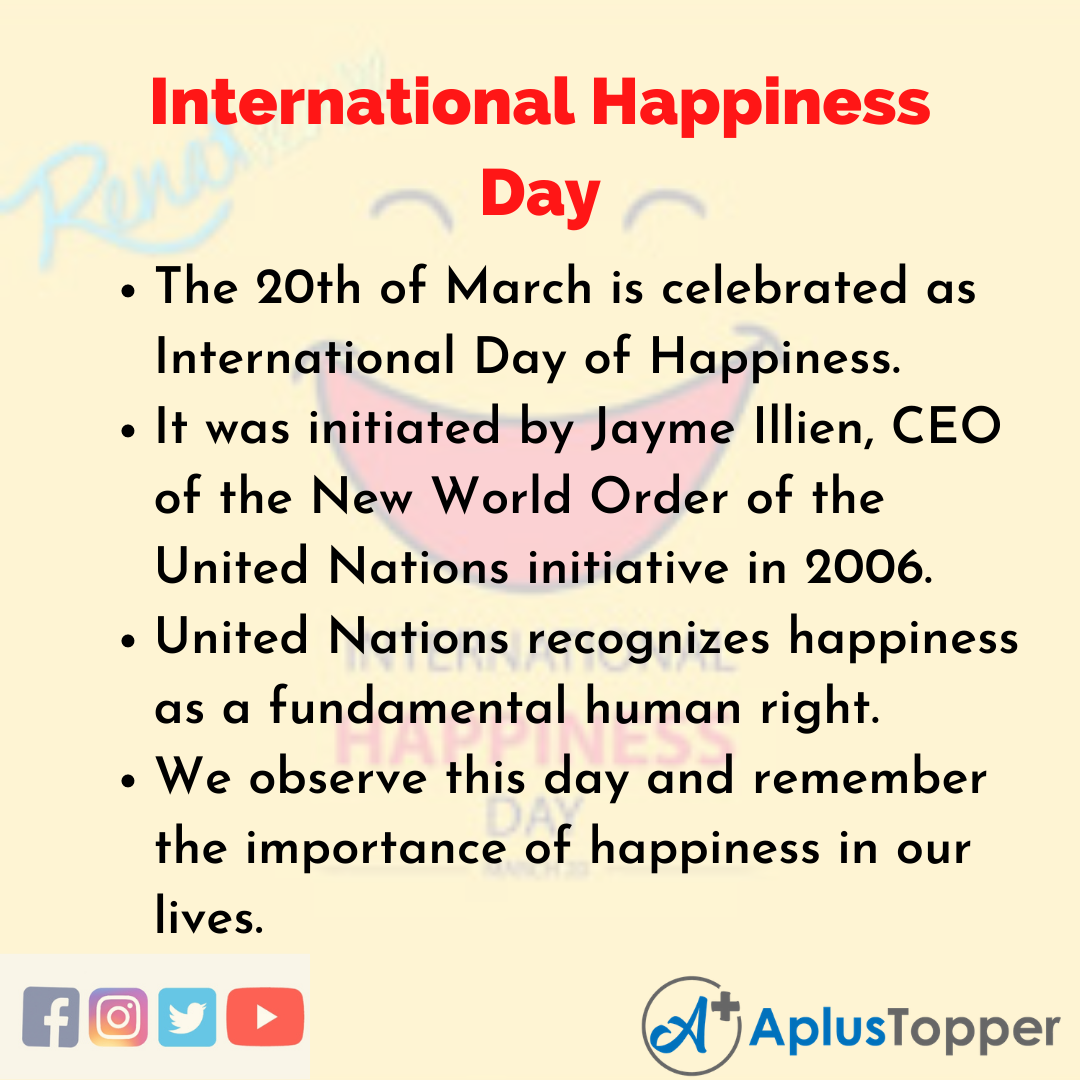 10 Lines of International Happiness Day