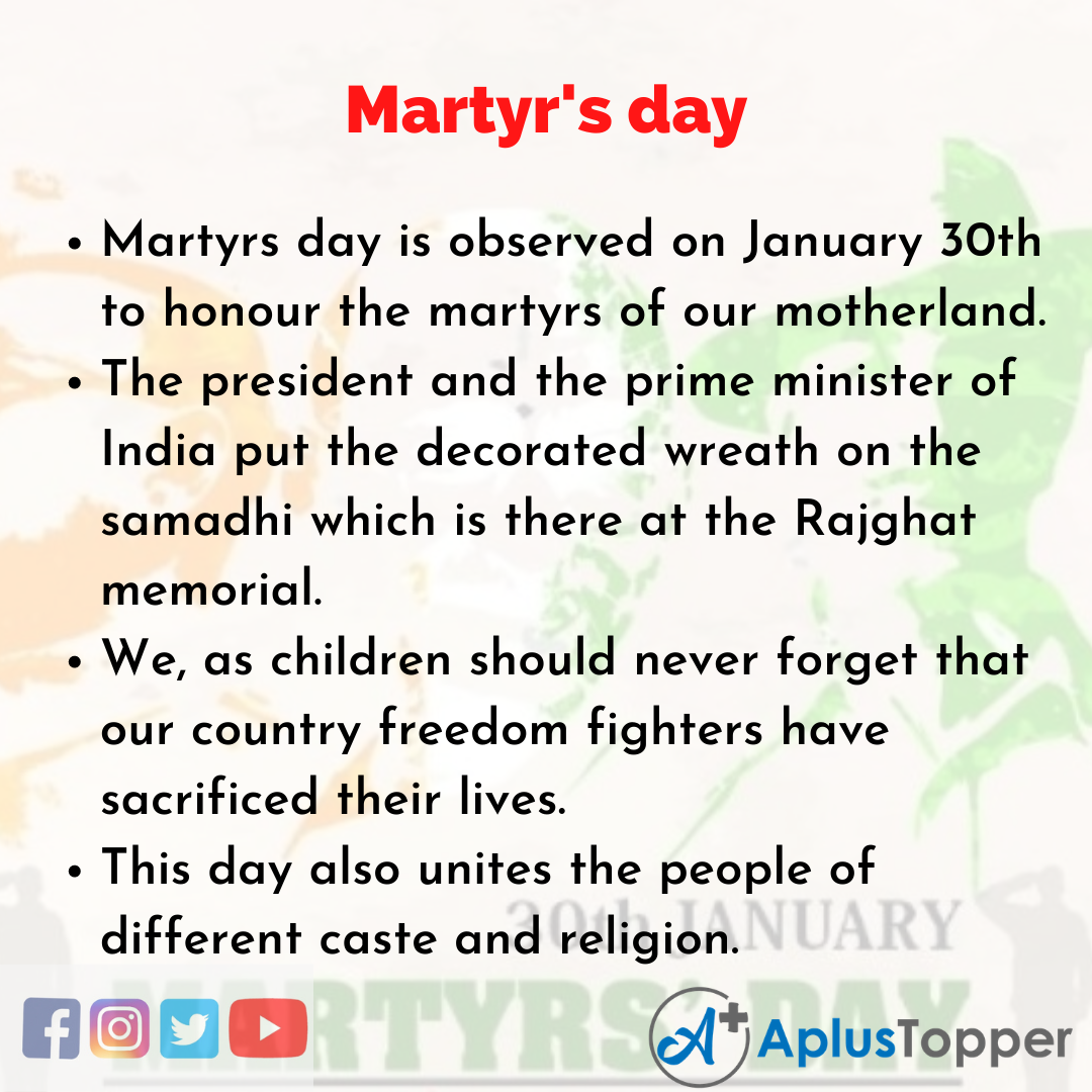 10 Lines of Martyr's day