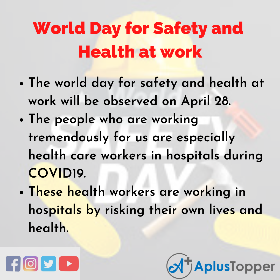 10 Lines of World Day for Safety and Health at work