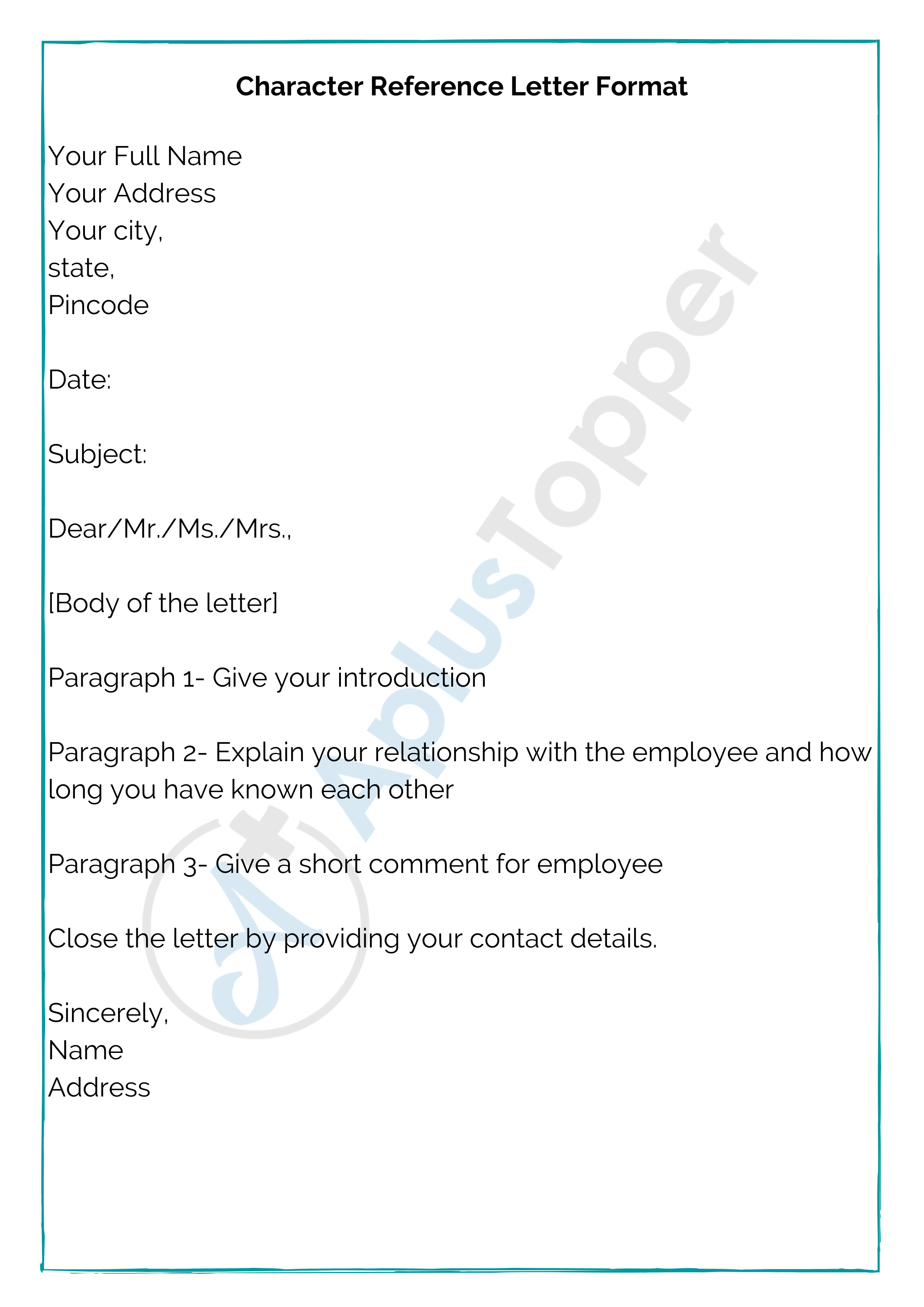 Character Reference Letter Format