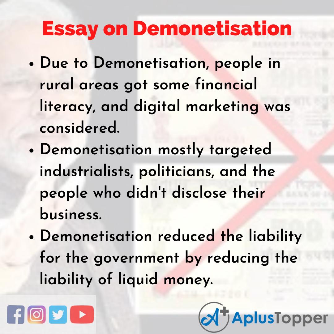 Demonetisation Essay