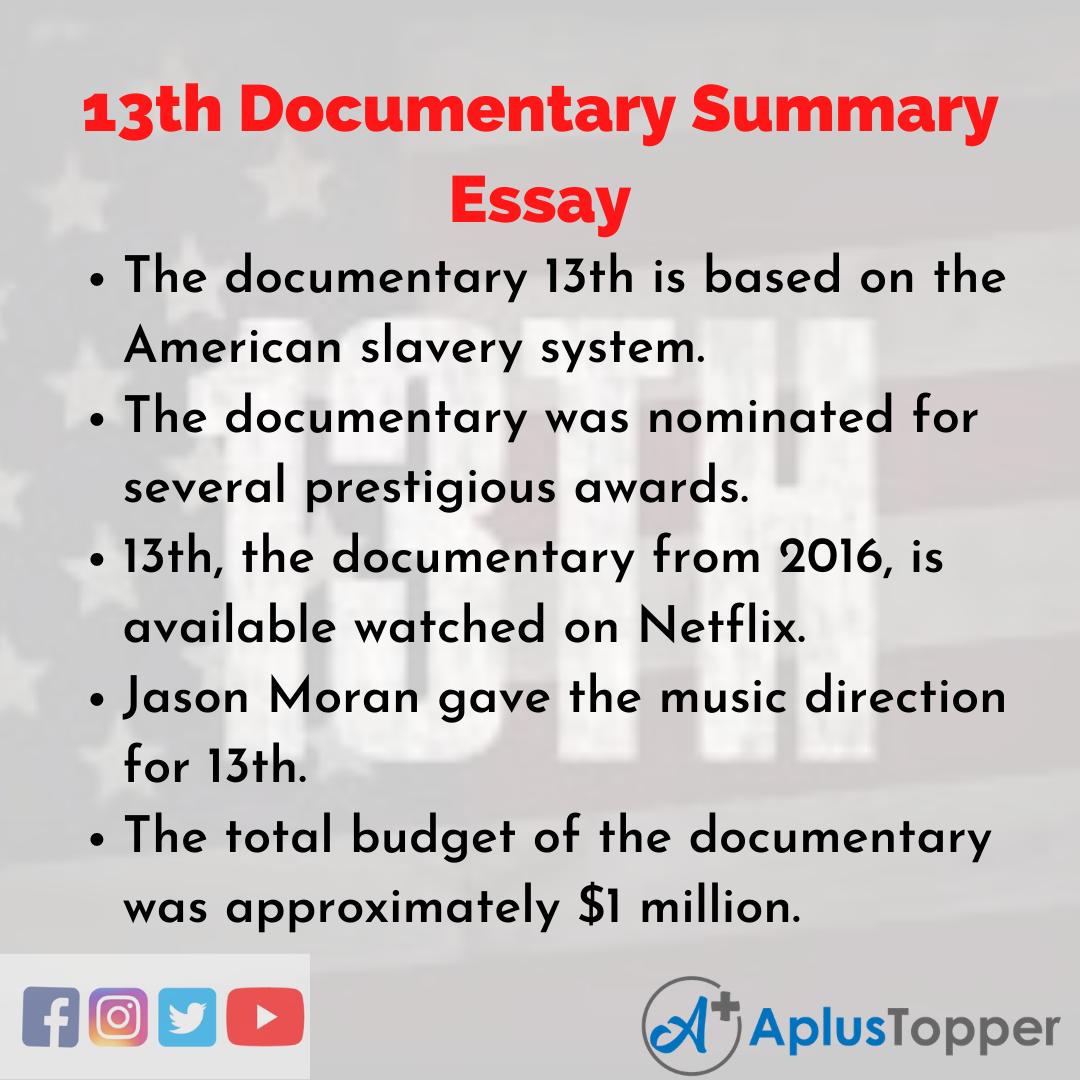 Essay about 13th Documentary Summary