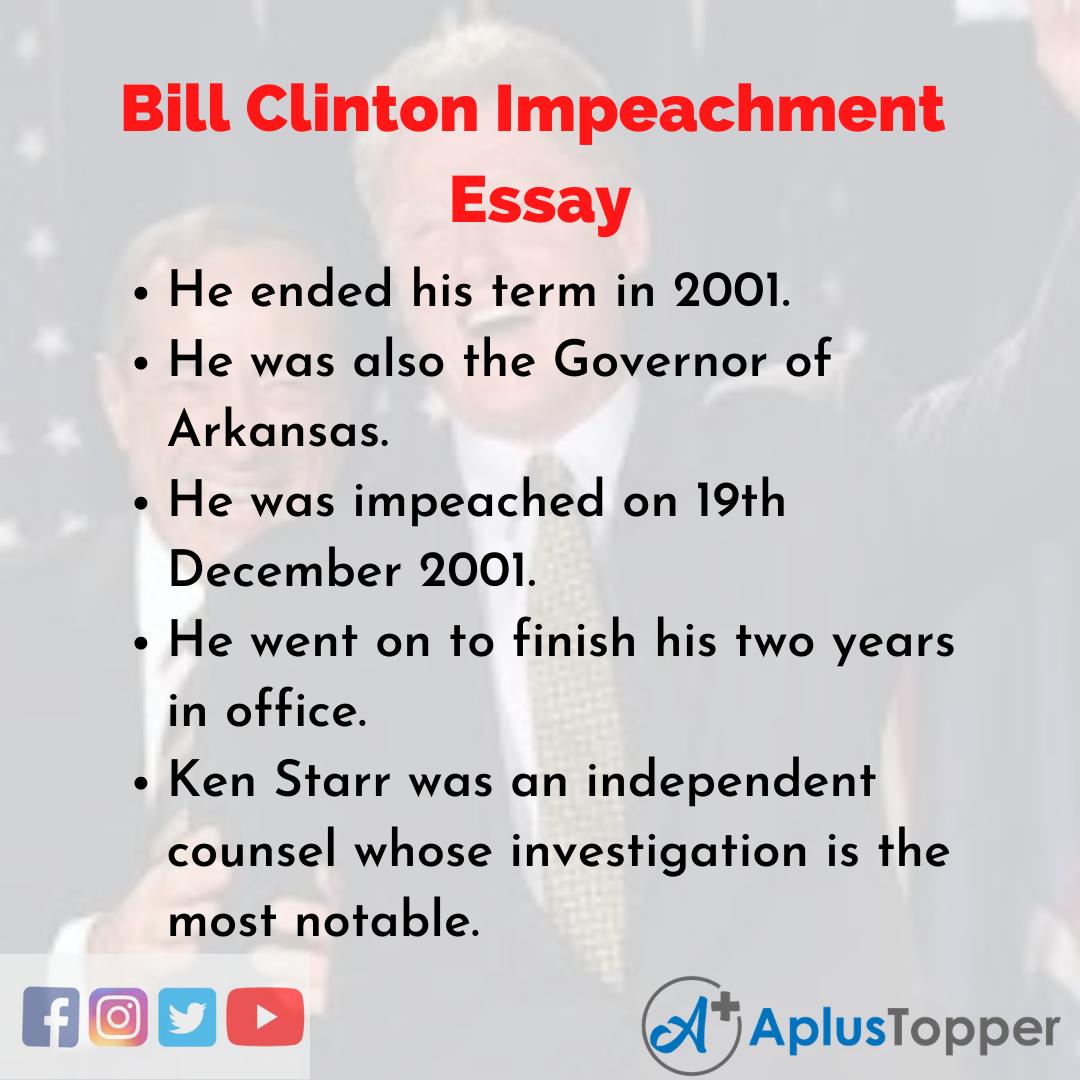 Essay about Bill Clinton Impeachment