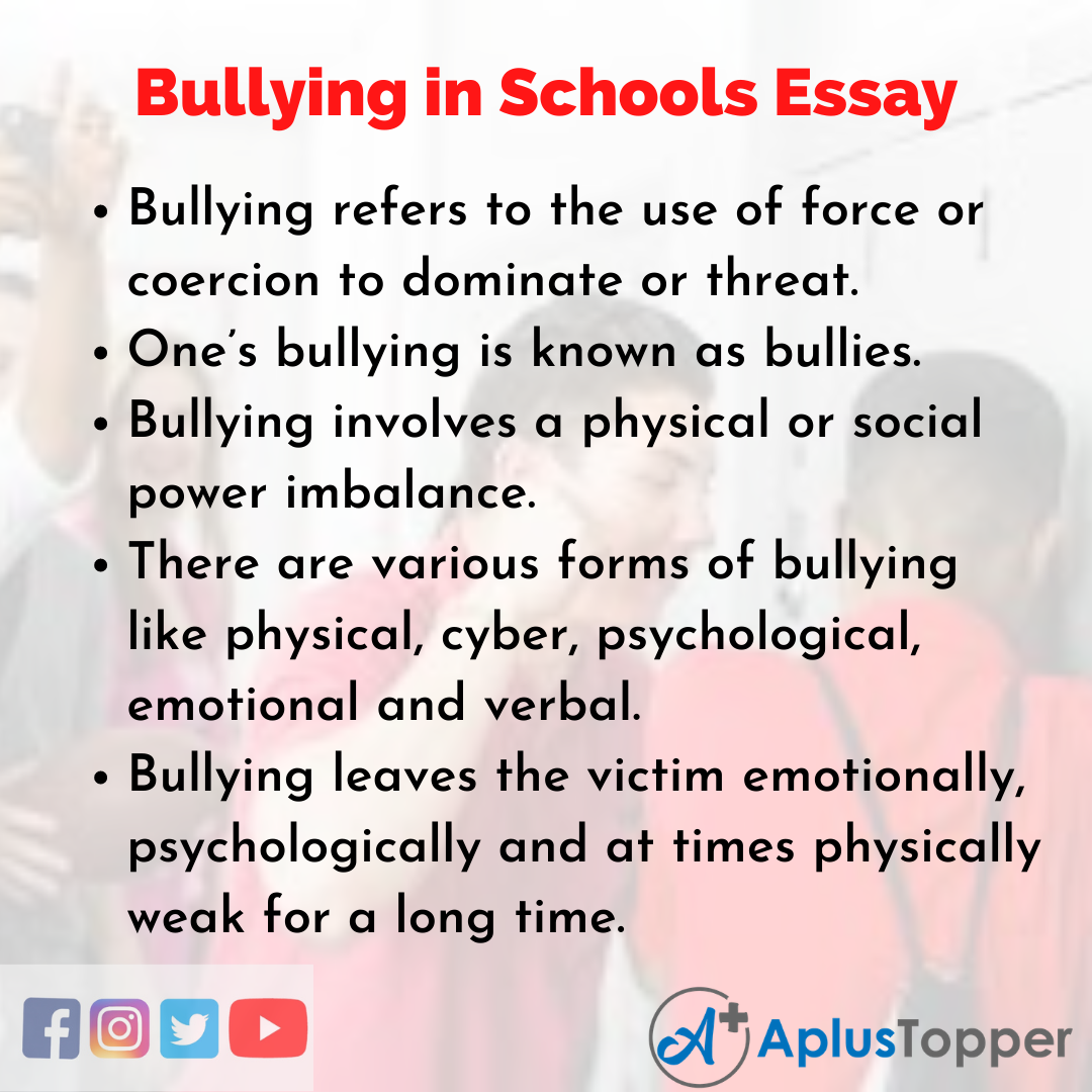 Essay about Bullying in Schools