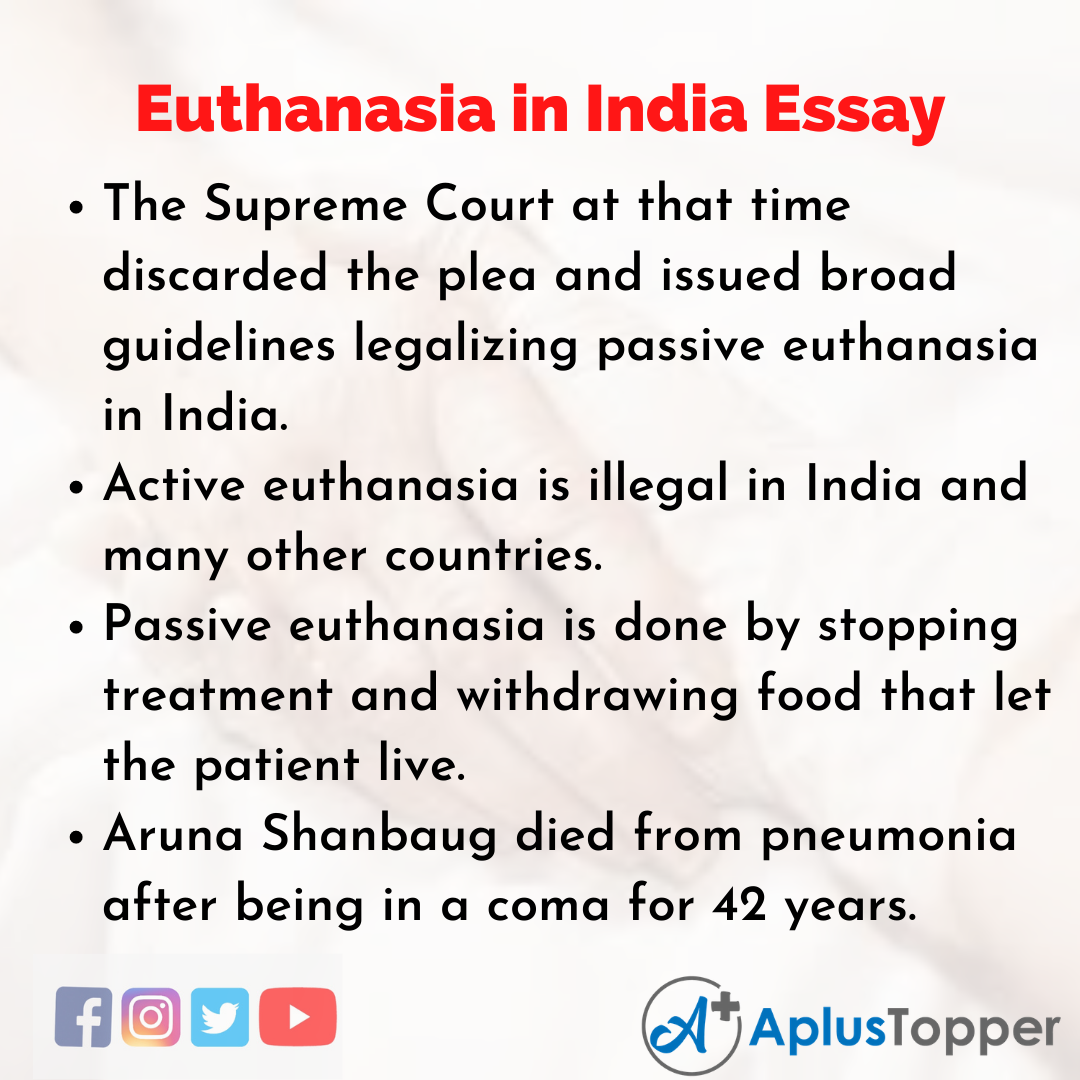 Essay about Euthanasia in India