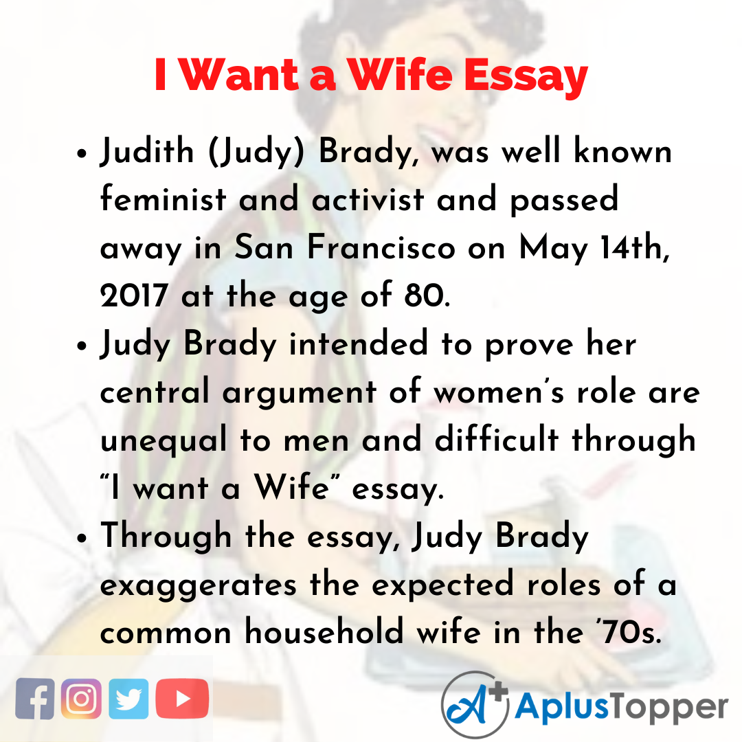Essay about I Want a Wife