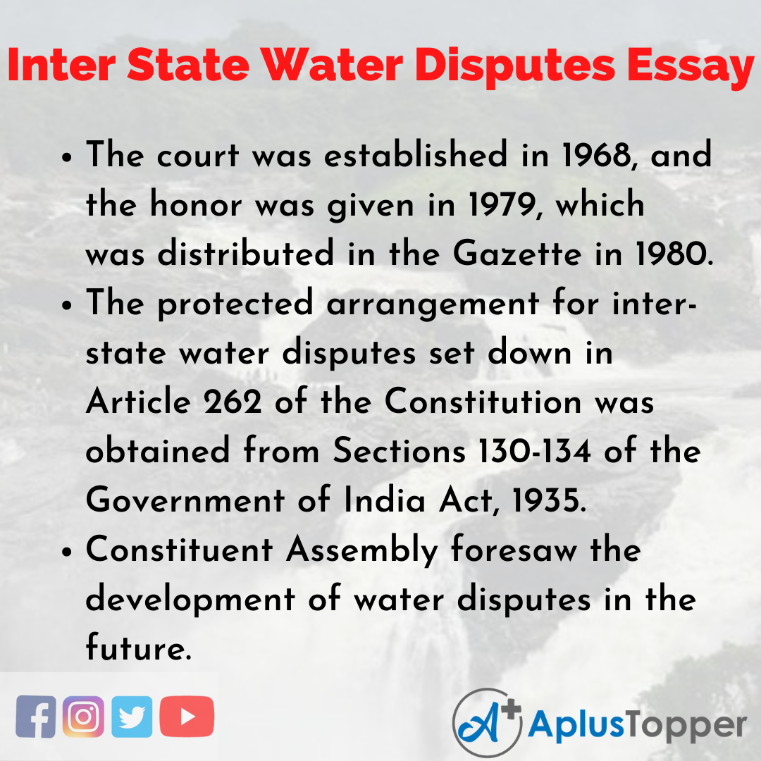 Essay about Inter State Water Disputes
