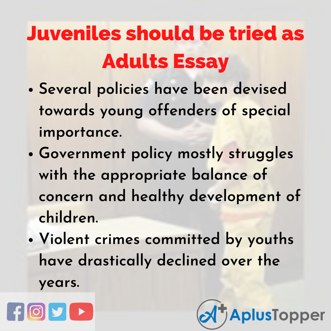 Essay about Juveniles should be tried as Adults