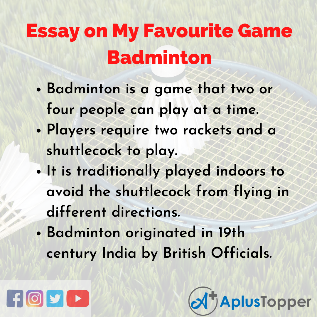 Essay about My Favourite Game Badminton