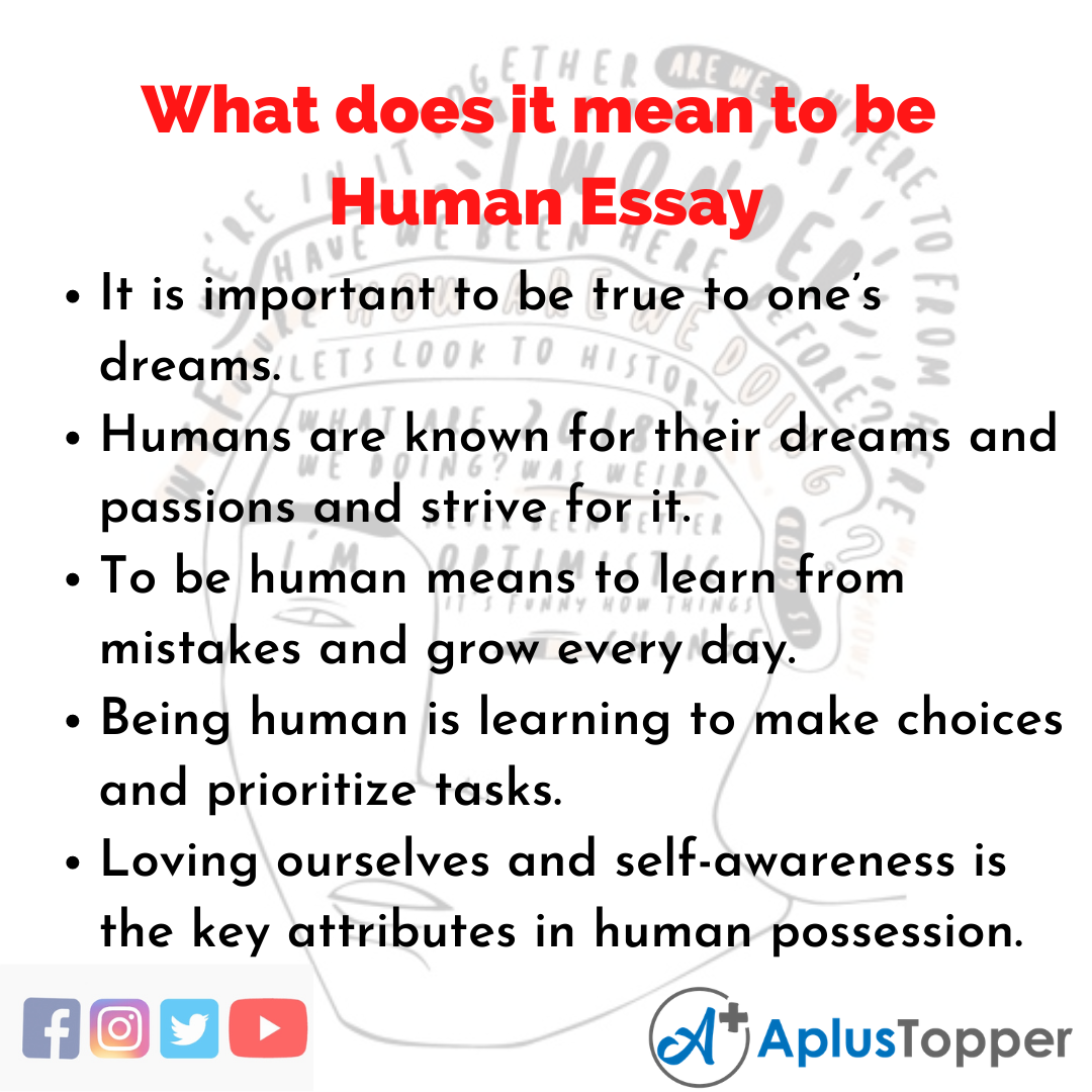 Essay about What does it mean to be Human
