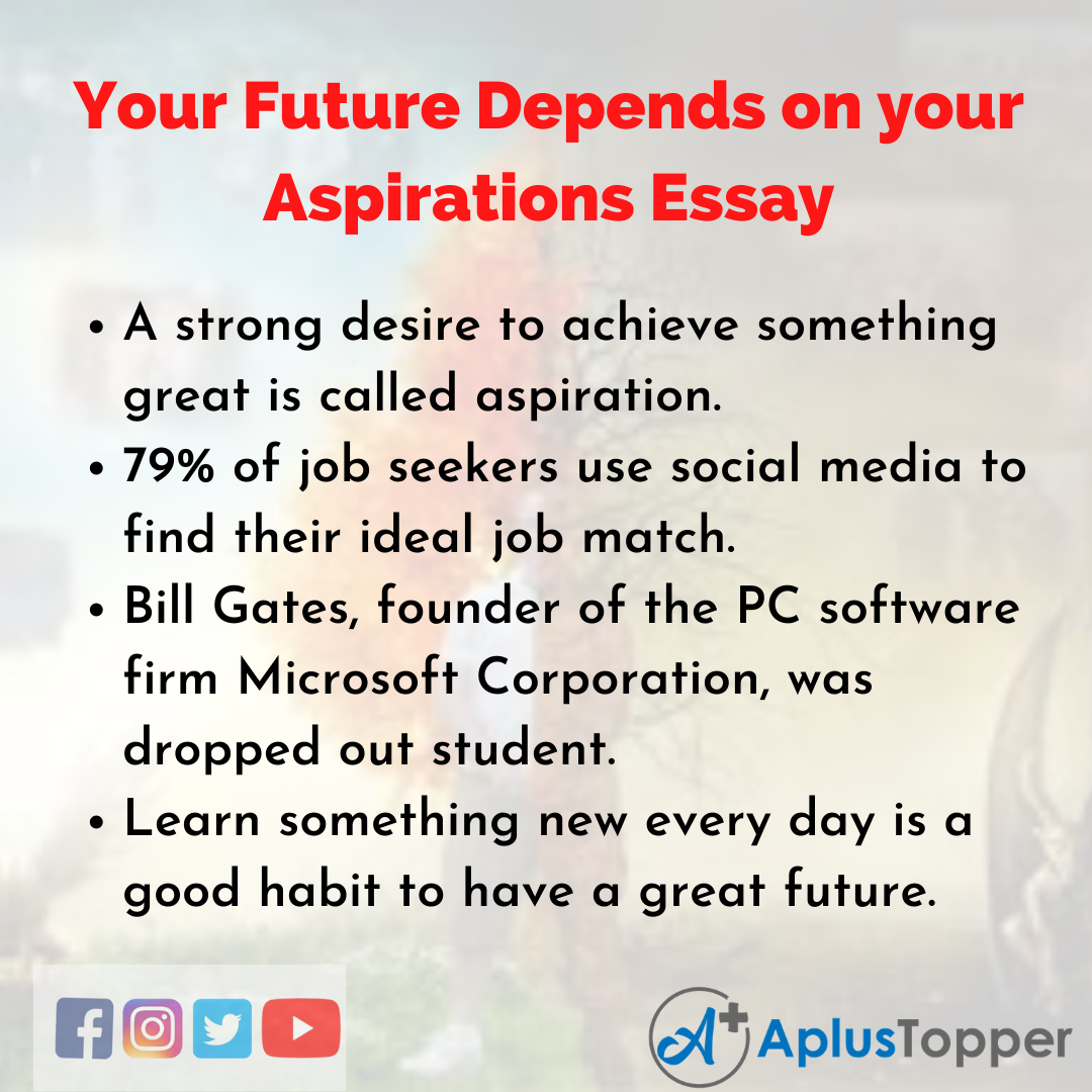 Essay about Your Future Depends on your Aspirations