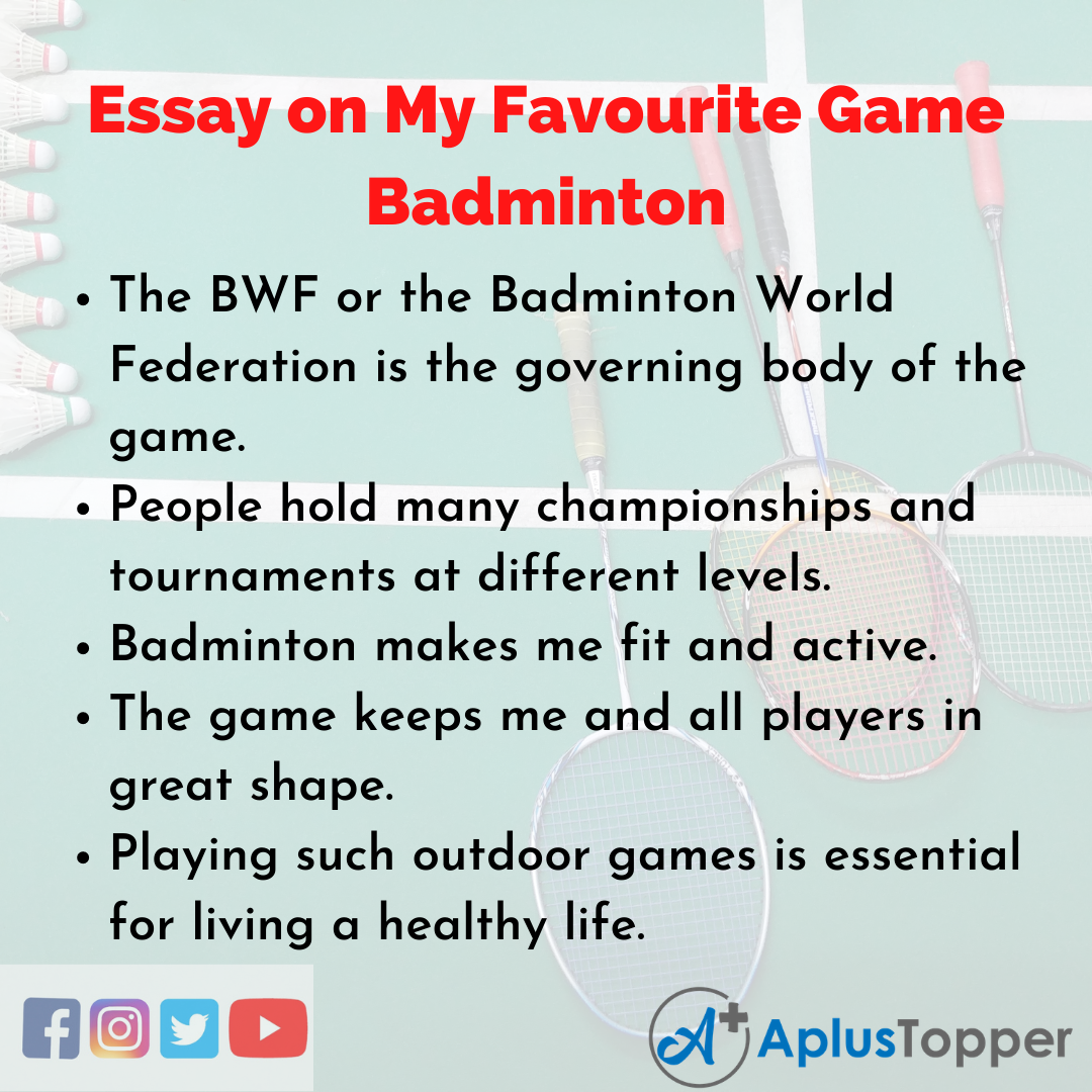 Essay of My Favourite Game Badminton