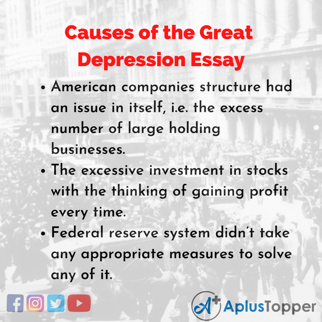 Essay on Causes of the Great Depression