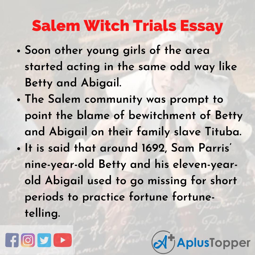 Essay on Salem Witch Trials