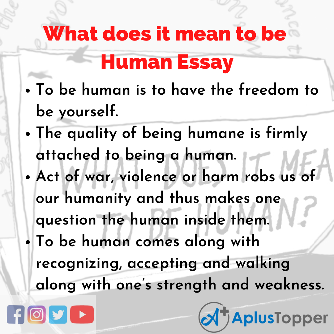 Essay on What does it mean to be Human