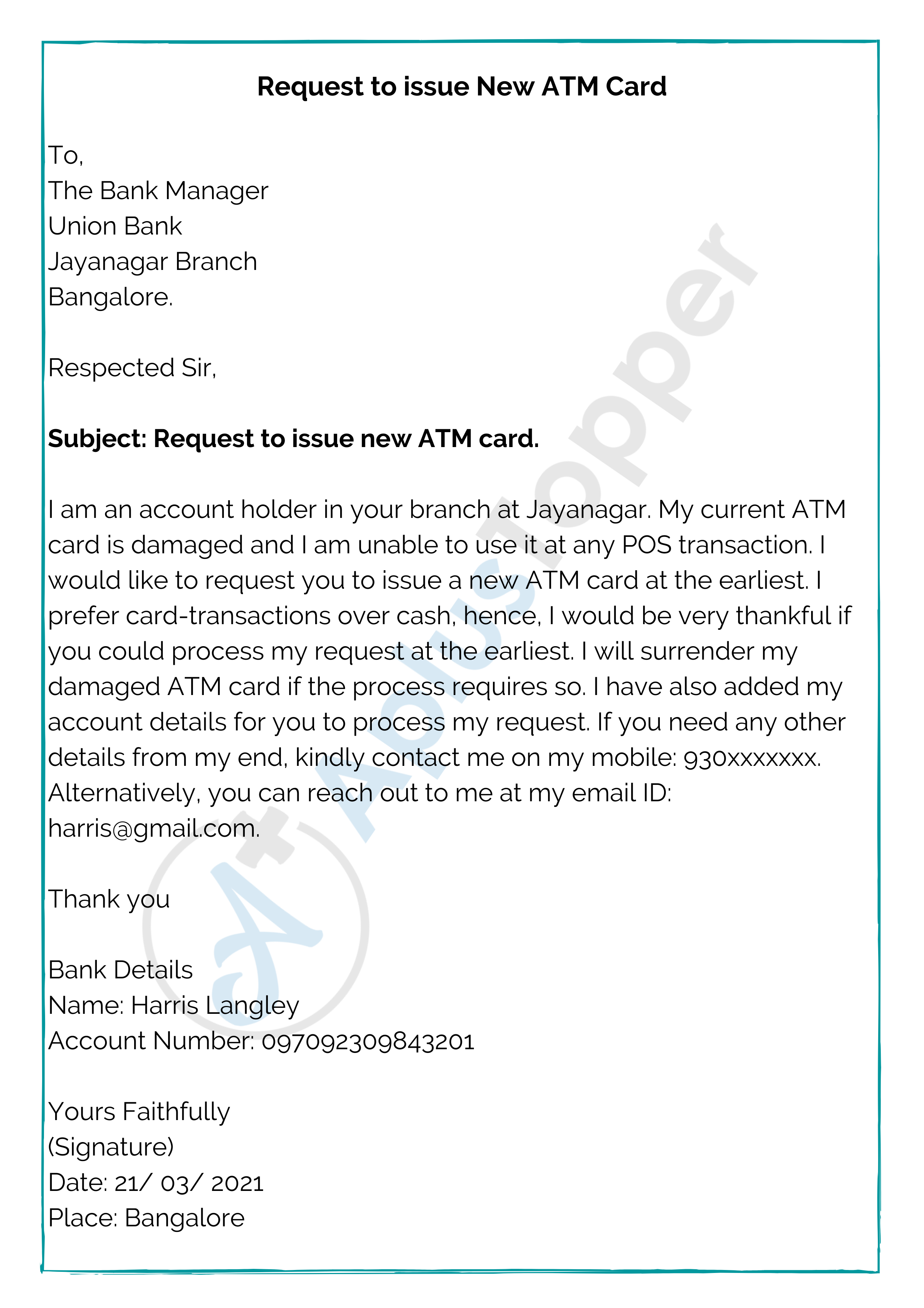 Letter To Bank Manager Sample