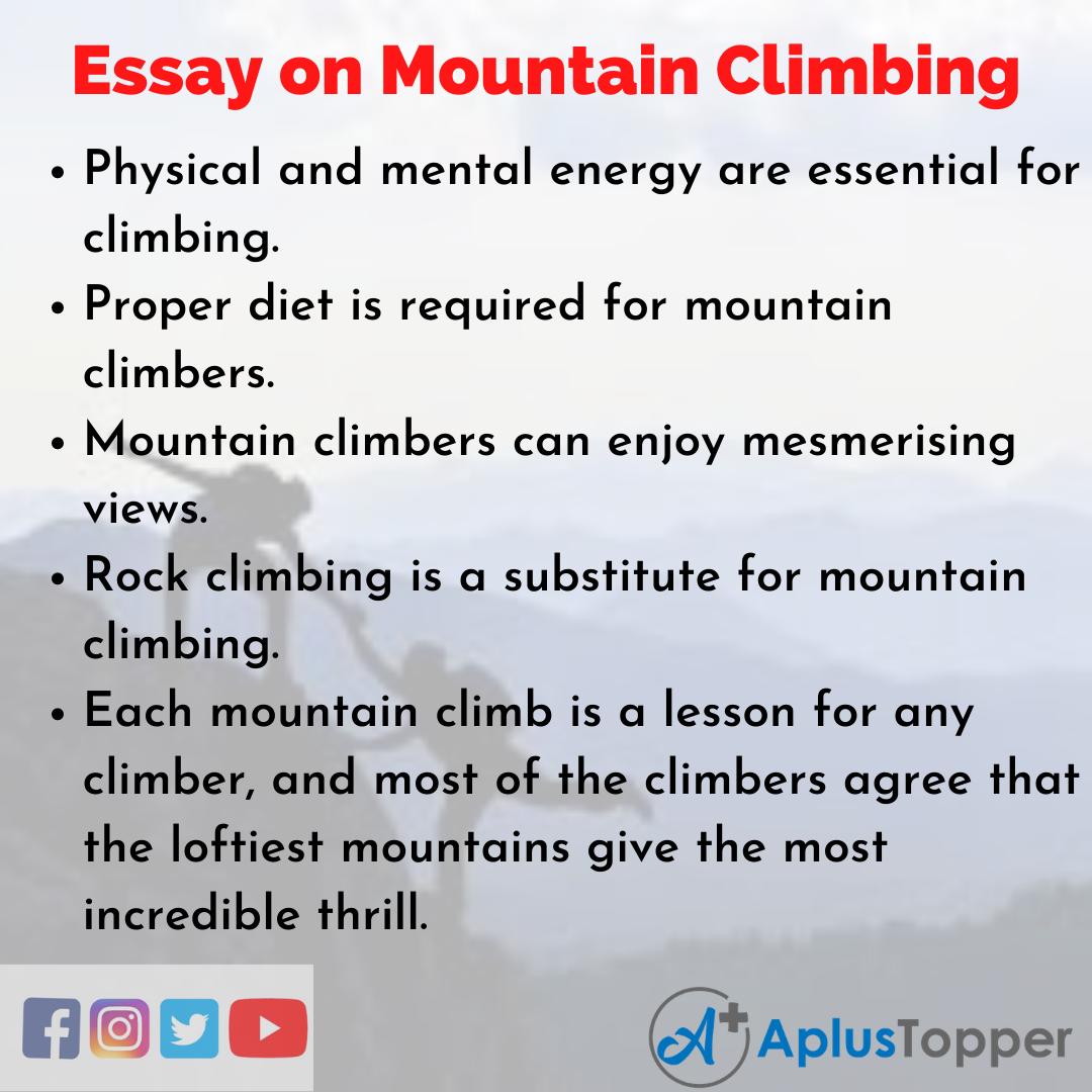 10 Lines on Mountain Climbing Essay