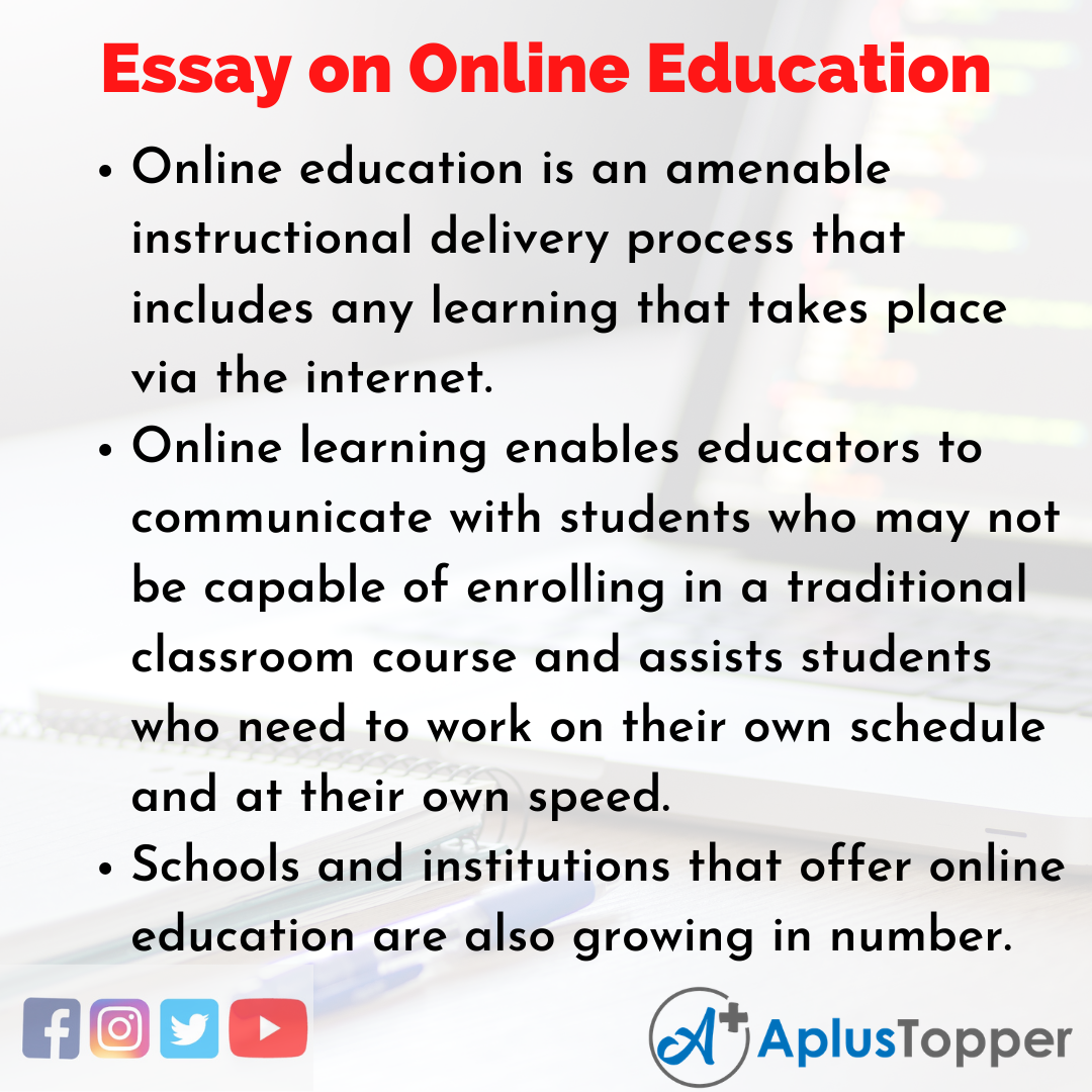10 Lines on Online Education Essay