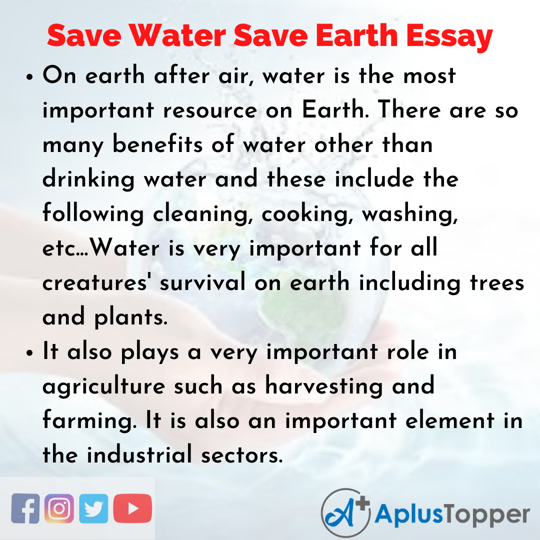 Essay about Save Water Save Earth