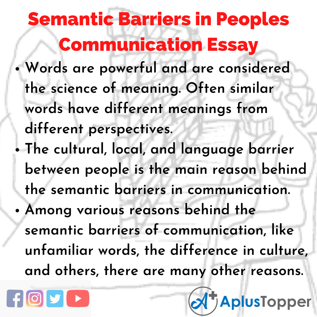 Essay about Semantic Barriers in Peoples Communication English Language