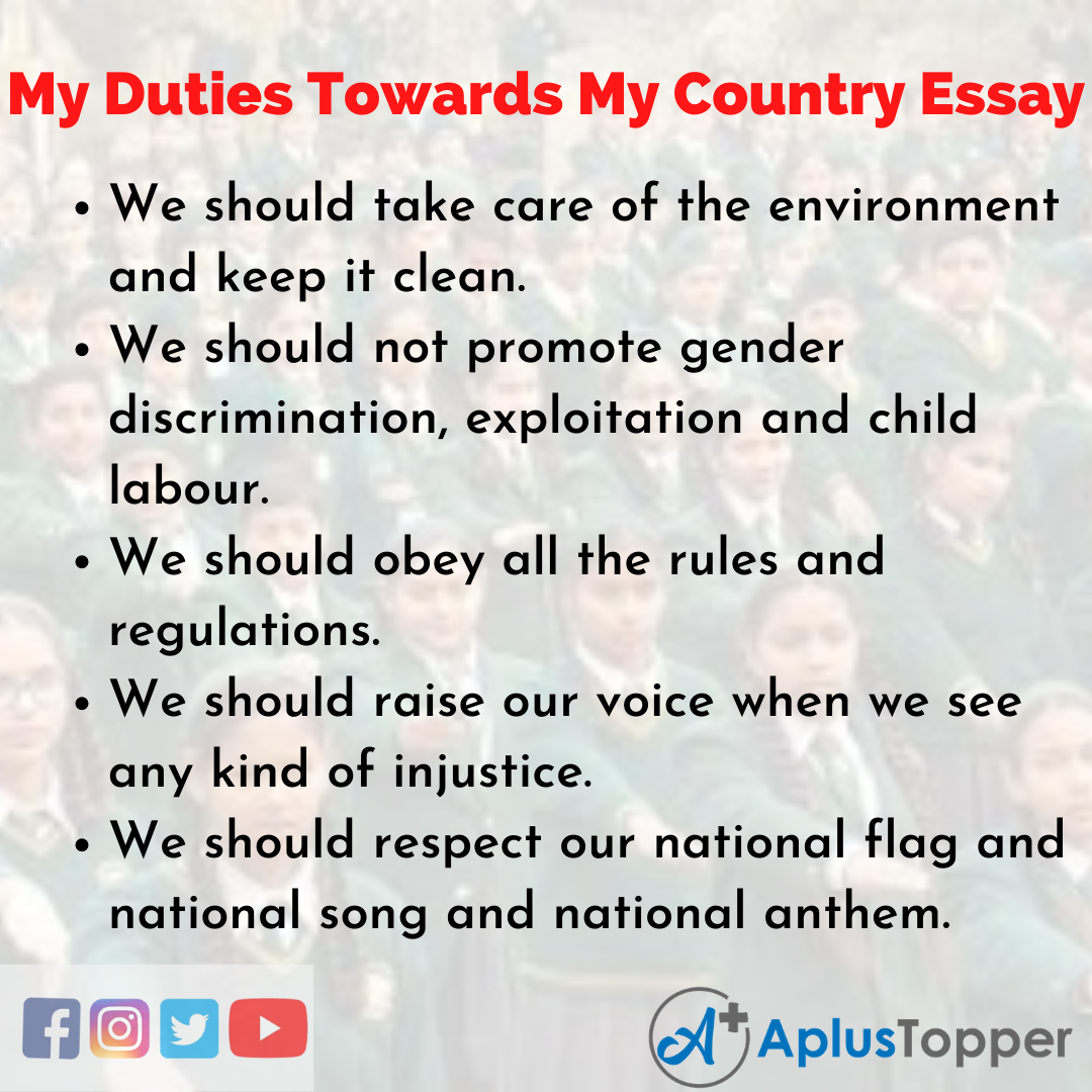 Essay about my Duties Towards My Country