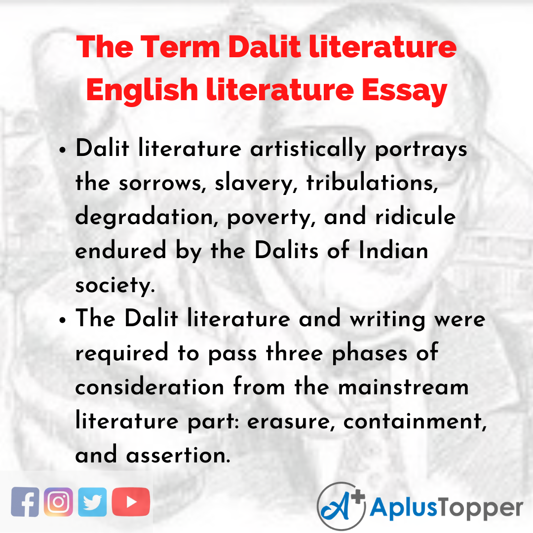 Essay about the Term Dalit literature English literature