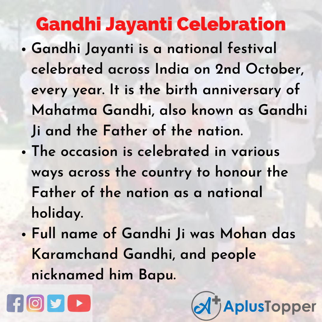 Essay on Gandhi Jayanti Celebration
