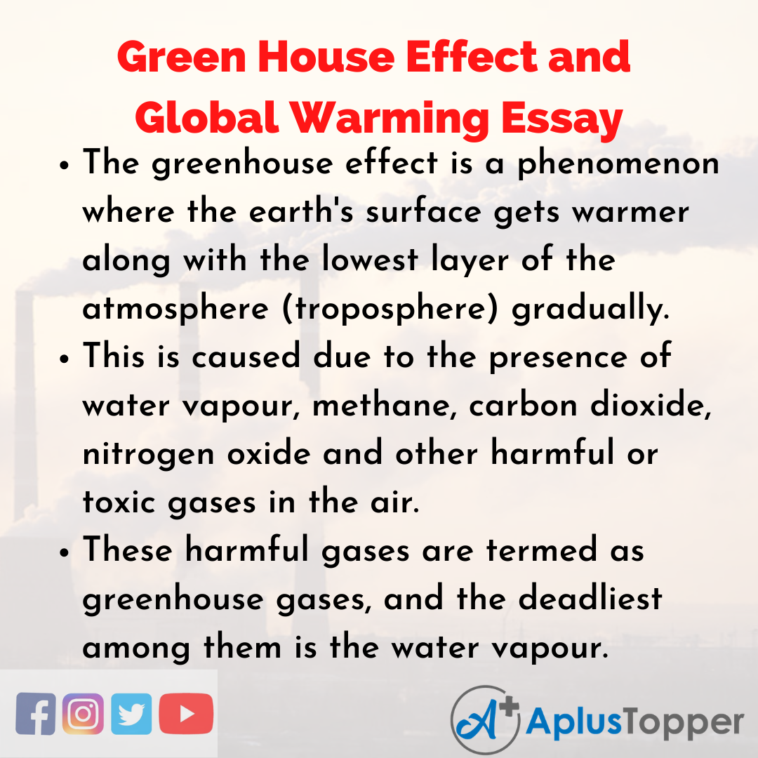 Essay on Green House Effect and Global Warming